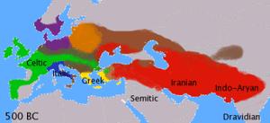 Los idiomas indogermanos 1000 años antes de Cristo