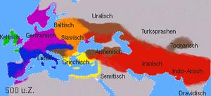 Los idiomas indogermanos 500 años despues de Cristo