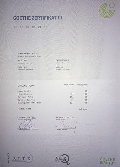 C1 Zertifikat Sofia Rodriguez